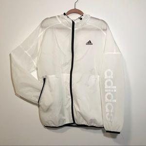 White Sheer Adidas Wind Breaker w Hood and Pockets
